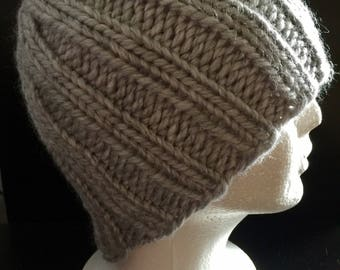 Grey Knit Beanie, Hipster Beanie, Hipster Hat, Grey Knitted Hat, Knit Winter Hat, Wool Hat, Knit Adult Hat, Womens Knit Hat, Mens Knit Hat,