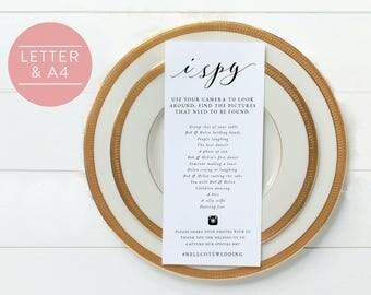 I Spy-I Spy Wedding Game-Hashtag Game-I Spy Hashtag-Wedding Printable-Wedding Game-Reception Game-Photo Hunt-I Spy Wedding-SN029_IS