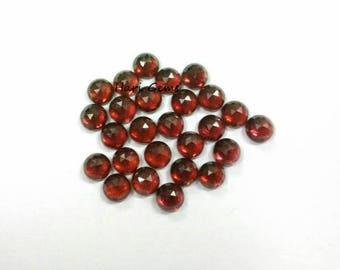 10 pieces 3mm Red Garnet RoseCut Round Cabochon Gemstone - Natural Red Garnet Rose Cut Cabochon Round Loose Gemstone Calibrated Size Garnet