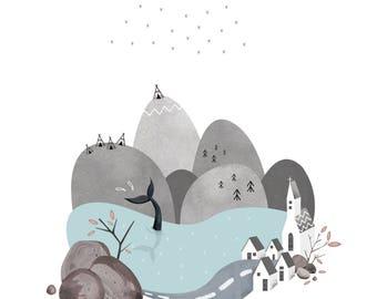 Iceland Reykjavik Art Print Illustration