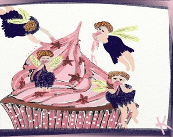 Cupcake Faeries Art Notecards (set of 6 folded cards with envelopes in a clear box) - faeries eating a cupcake