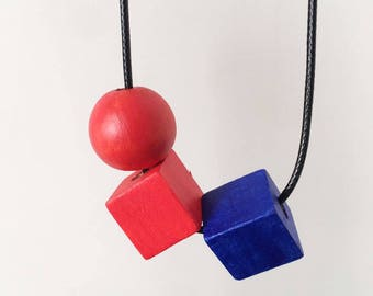 Playground. Bold. abstract wearable art. Handpainted wooden geometric statement necklace.