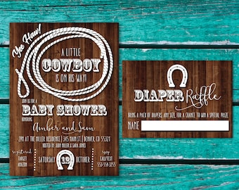 Cowboy Baby Shower Invitation | Cowgirl Baby Shower | Western Baby Shower Invite | Rustic Baby Shower | Country Western | Little Cowboy