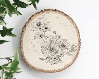 Flower Illustration on Wood, Wood Art, Spring, Flower Art, Boho, Painting on Wood, Home decor