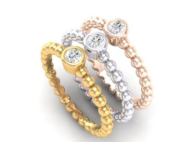 Ladies White Gold Yellow Gold Rose Gold Dainty Fashion Stackable 2MM