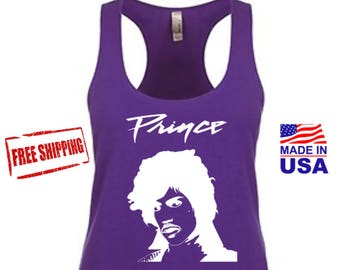 Prince shirt, Prince Party Purple Rain Womens Tank Top, Prince Costume Shirt, Womens Workout, Free Shipping.