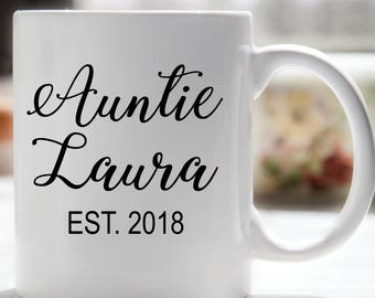 Aunt Mug, Aunt Coffee Mug, Auntie EST Coffee Mug, Auntie Established, Gift for New Aunt, Pregnancy Reveal