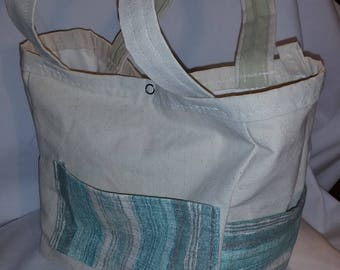 Duck Canvas Tote with blue
