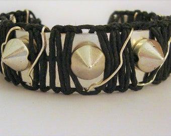 Spiked Bracelet, Silver Cuff Bracelet, Spiked Cuff Bracelet, Cuff Bracelet, Hemp Jewelry, Industrial Jewelry, Goth Jewelry, Macrame Jewelry