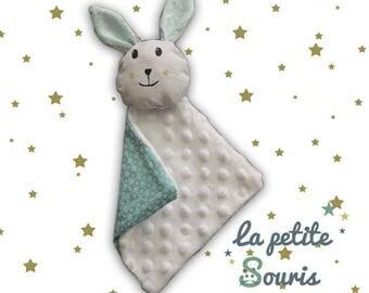 flat green water Bunny minky baby blanket star