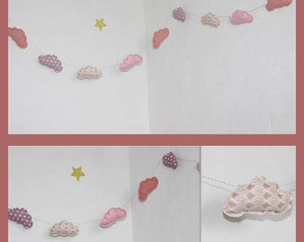 great shades of pink cotton fabric and felt great clouds Garland decoration baby room