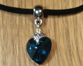 Black velvet suede and Blue Crystal heart pendant necklace