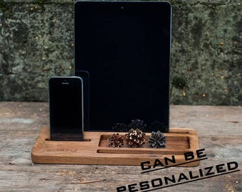 Tablet stand,smartphone stand,iPad stand,iPhone stand,desk organizer,wooden stand gift,wood docking station,husband gift,personalized gift