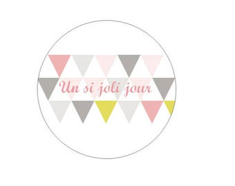 24 personalized stickers labels (3 cm in diameter) - wedding