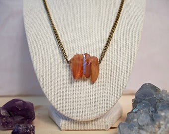 Four Piece Orange Quartz Chain Necklace