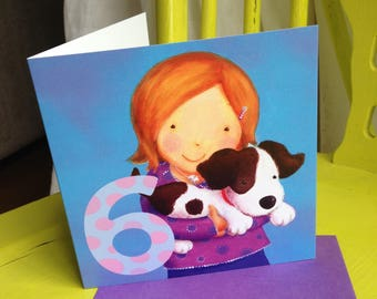 Age 6 Birthday Card ~ Girl with Puppy