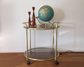 70s of golden tea trolley trolley with smoked glass plates