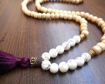 Buddha Mala Necklace, Burgundy Tassel Necklace with wooden beads. Buddha bead mala necklace, 108 mala necklace, yoga necklace.