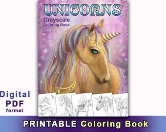 Printable Digital Download - UNICORNS. Grayscale Coloring book. (Adult Coloring, Coloring book grayscale)