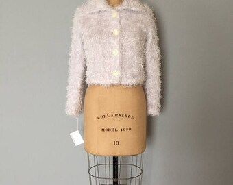 20% OFF SALE... snow white fuzzy crop cardigan | fluffy knitted top