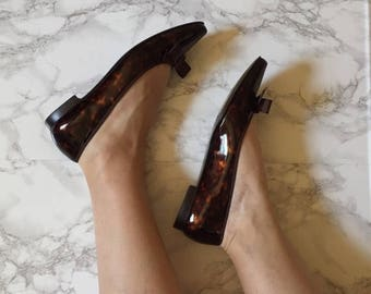 20% OFF SALE... marbled bow ballet flats | caramel patent leather shoes