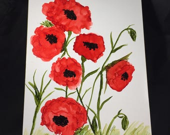 Red Poppies - Alcohol Ink