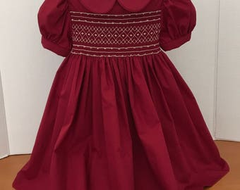 Hand Smocked Dress  Deep Red, Size 3  Ready To Ship!