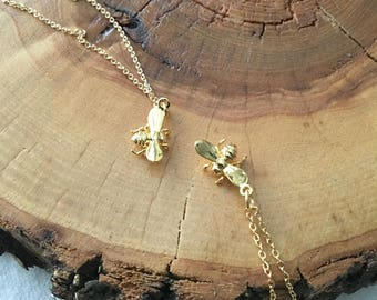 Best Friend Bee Necklaces; Bee Charm Necklace; BFF Necklaces; Matching necklaces