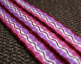 Tablet woven viking belt, larp clothing detail, ethnic textile belt, pagan hippie fashion accessory, red purple medieval trim, band, ribbon