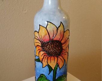 Handpainted Bottle Painting