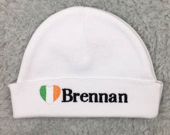 Irish baby gift etsy personalized newborn hat with irish flag micro preemie hat custom preemie hat negle Images