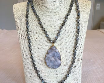 labradorite necklace w/ grey druzy