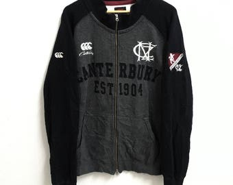 RARE!!! Canterbury Of New Zealand Rugby Big Logo Embroidery SpellOut Zipper Sweaters Hip Hop Swag 4L Size