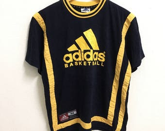RARE!!! Adidas Basketball Big Logo Crew Neck Dark Blue Colour T-Shirts M Size