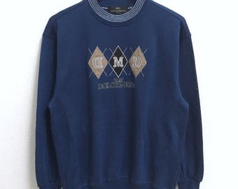 RARE!!! DOLCE MARA Italy Big Logo Embroidery Crew Neck Dark Blue Colour Sweatshirts Hip Hop Swag M Size