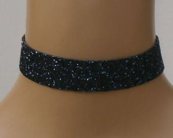 Navy Blue Glitter Choker Satin Ribbon Tie