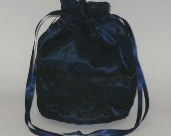 Navy Blue Satin & Half Lace Dolly Bag Evening Handbag / Purse For Wedding /Bridesmaid/ Prom Drawstring