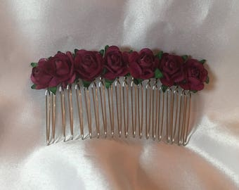 Fushia pink bridal decorative comb, flower girl hair accessories, wedding hair comb, bridesmaid hair comb, flower girl hair, decorative comb