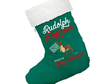 Rudolph Overnight Delivery Personalised Large White Christmas Stocking With White Fur Trim