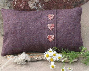 Wool fabric cushion cover with heart shaped ceramic buttons