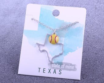Customizable! State of Mine: Texas Softball Enamel Necklace - Great Softball Gift!