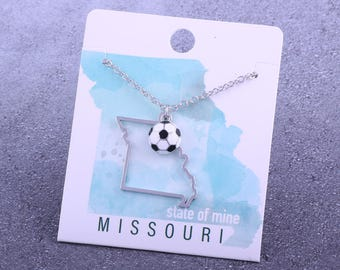 Customizable! State of Mine: Missouri Soccer Enamel Necklace - Great Soccer Gift!