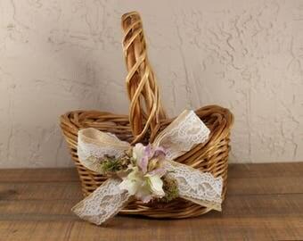 Wedding Flower Girl Basket / Rustic Flower Girl Basket / Flower Girl Basket /