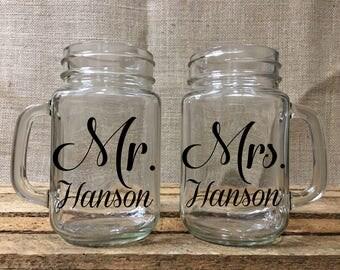Personalized Mason Jar Glasses/Wedding Toasting Glasses/Engraved Mason Jar Mugs/Wedding Shower Gifts/Mason Jar Wedding/Mr. & Mrs. Mugs