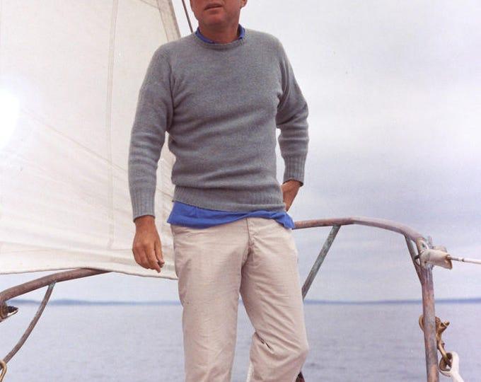 "President John F. Kennedy on Yacht ""Manitou"" Off Maine Coast - 5X7 or 8x10 Photo (AA-687)"