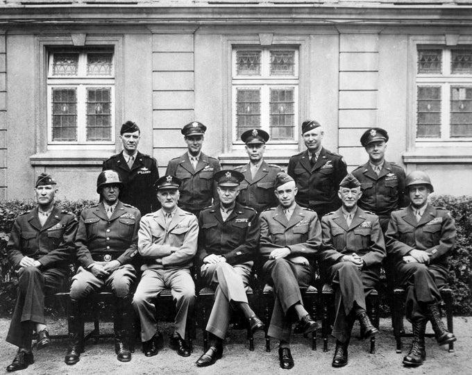 Senior World War II Generals Dwight Eisenhower, George Patton, Omar Bradley and Others, Circa 1945 - 5X7, 8X10 or 11X14 Photo (EP-823)