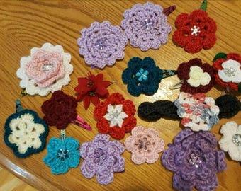 Crochet hair clips and baby headband