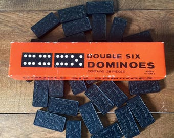 Vintage Dominoes, Vintage Wooden Dominoes, Vintage Double Six Dominoes, T.G. & Y. Stores Company
