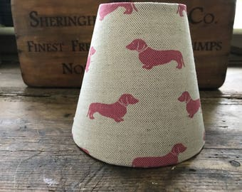 Handmade Candle clip Lampshade , in Emily Bond Pink Dachshund fabric.