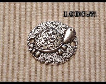 * ¤ 1 pendant connector oval 3D * turtle * silver - 25x22mm ¤ * #PC30